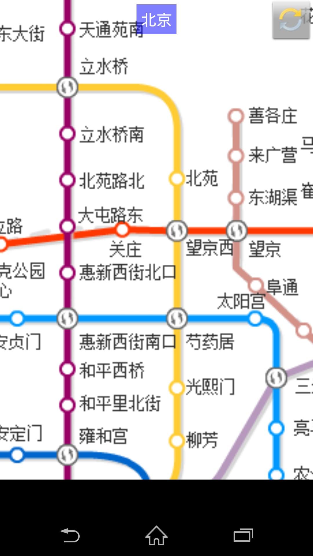 进入城市地铁地图,通过双指放大/缩小